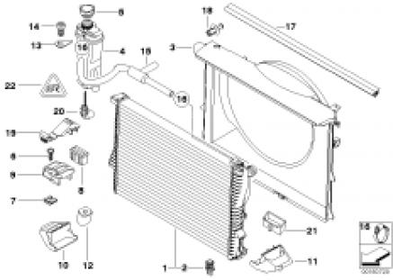 Radiator/expansion tank/frame