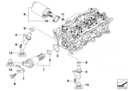 Cylinder head, electr. add-on parts