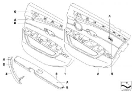 Individual rear door trim panel,leather