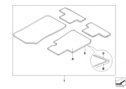Individual floor mats, Leather border