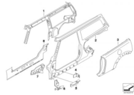 Side braces single parts, left