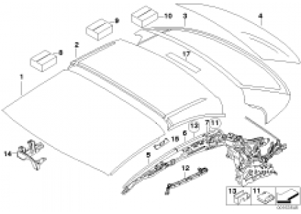 Hardtop, retractable, roof sections