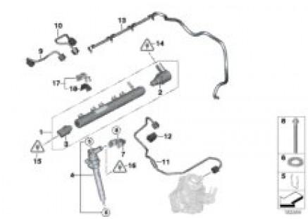 High pressure accumulator/injector/line