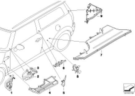 Box section cover, side frame, left
