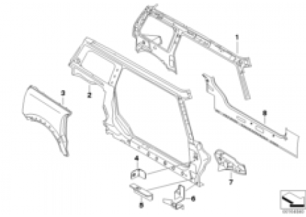 Side braces single parts, right