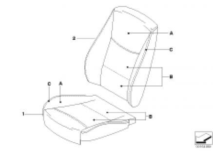 Individual uphols, base seat, front, LC