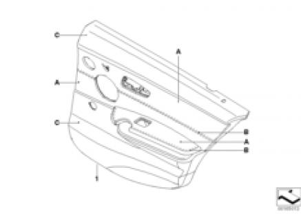 Indi. door trim panel, leather, rear, LC