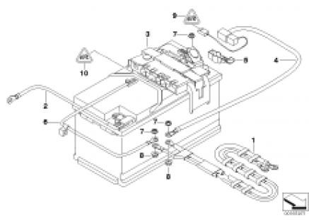 Battery lead/distribution box, rear