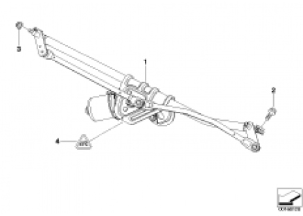 Linkage for wiper system with motor