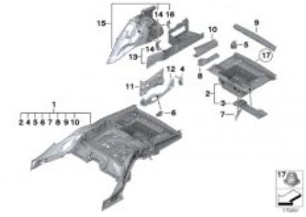 Floor panel trunk/wheel housing rear