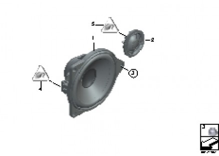Single parts f rear door top-hifi syst.