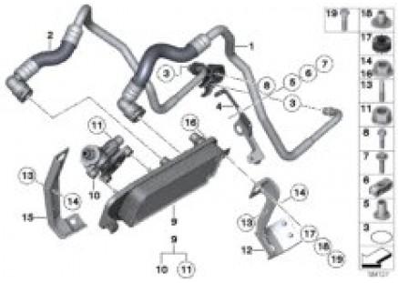 Heat exch./transmission oil cooler line