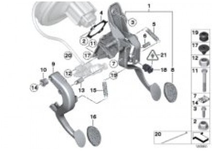Foot lever mech. with return spring