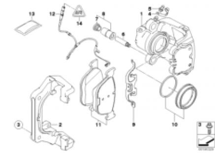 Front brake pad wear sensor