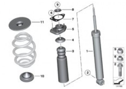Rear spring strut mounting parts