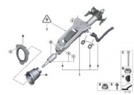 Manually adjust. steering column