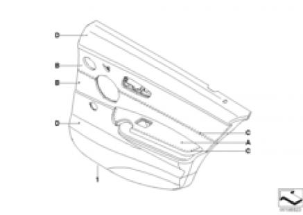 Indi. door trim, part leather, rear, LC