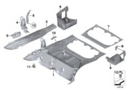 Mounting parts for trunk floor panel