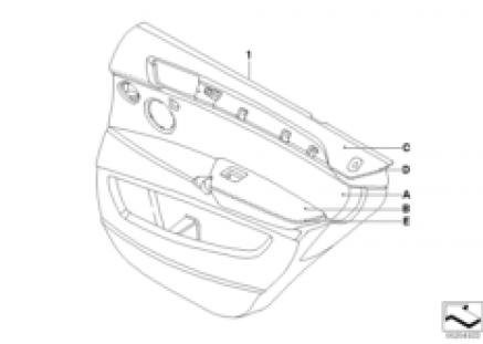 Indiv. rear door trim panel,part.leather