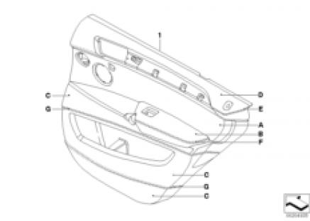 Indi. door trim, all-leather, rear