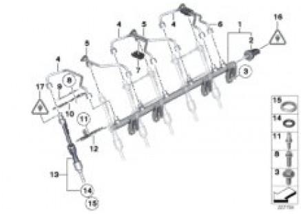 High-pressure rail/injector/line
