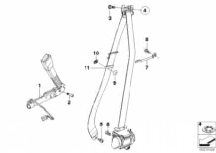Front safety belt mounting parts