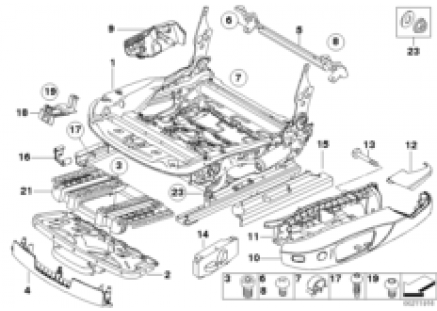 Front seat rail electrical/single parts