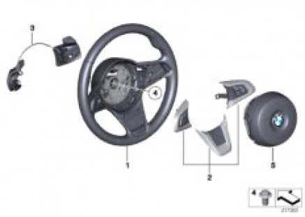 Sports steering wheel airbag w/paddles