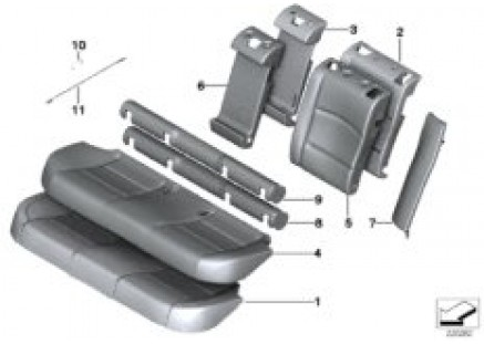 Seat rear, upholstery & cover base seat