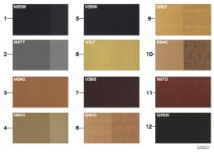Sample chart, upholstery colors, leather