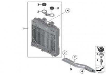 Auxiliary radiator, wheelhousing