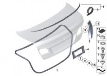 Mounting parts, trunk lid