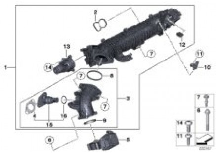 Intake manifold AGR with flap control