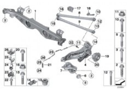 Rr axle support, wheel susp.,whl bearing
