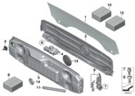 Folding top-rear window