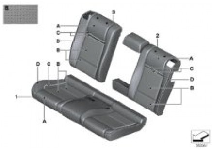 Indi. cover, rear seat perf lthr (S4UKA)