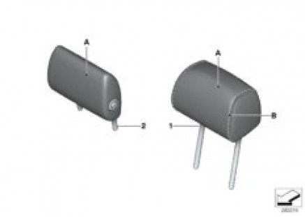 Individual headrest, leather, rear