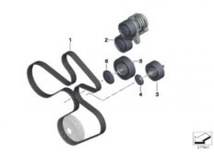 Belt drive-generator/AC/power steering