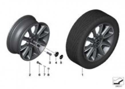 MINI LA wheel Sandblast Turned 132