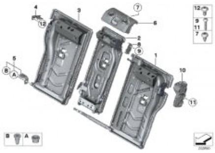 Seat, rear, seat frame, load-through