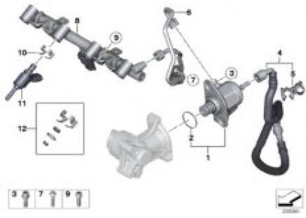 High-pressure pump/lines/injector