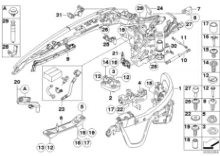 Hardtop, retractable, mounting parts