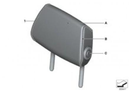 Indi. fold headrest, rear seat, center