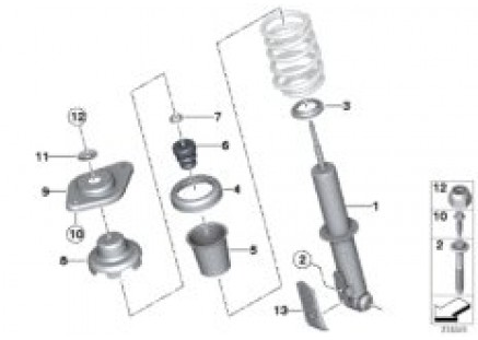 Single components for rear spring strut