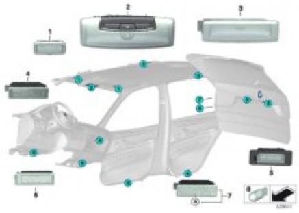 Interior lights, ceiling/tailgate