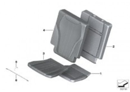 Seat, rear, pad and cover, 3rd row