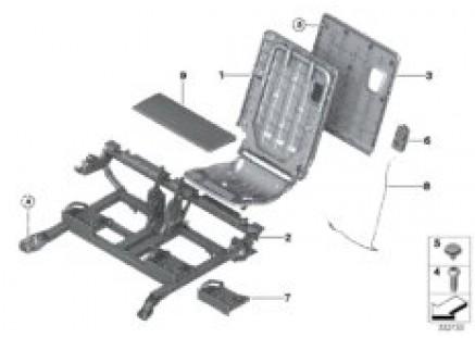 Seat, rear, seat frame, 3rd row