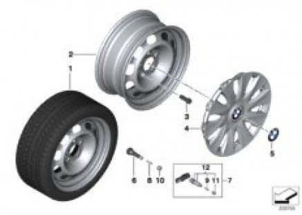 Disk wheel in steel Styl.12 - 16''