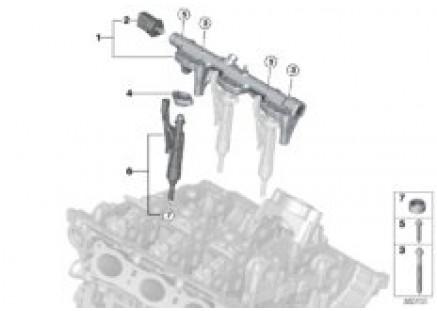 High-pressure rail / injector