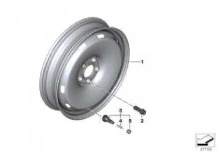 Compact spare wheel, steel, black